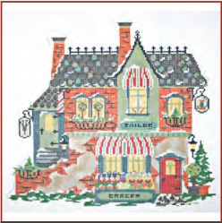 click here to view larger image of Winter Village - Barber Tailor and Green Grocer (hand painted canvases)