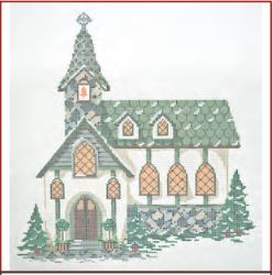 click here to view larger image of Winter Village - Old Stone Church (hand painted canvases)