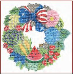 click here to view larger image of Summer Independence Wreath (hand painted canvases)