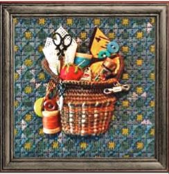 click here to view larger image of Tiny Stitching Basket (hand painted canvases)