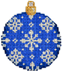 click here to view larger image of Blue Snowflake Mini Ball Ornament (hand painted canvases)