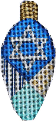 click here to view larger image of Large Hanukkah Light Bulb (hand painted canvases)