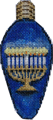 click here to view larger image of Menorah Hanukkah Light Bulb (hand painted canvases)