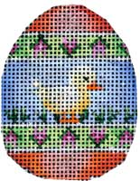 click here to view larger image of Chick Tulip Stripes Mini Egg (hand painted canvases)