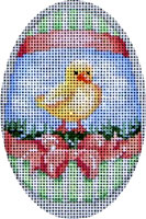 click here to view larger image of Chick Peach Bow Egg (hand painted canvases)