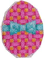 click here to view larger image of Aqua Bow/Lattice Mini Egg (hand painted canvases)