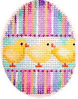 click here to view larger image of Stripes/Chicks Mini Egg (hand painted canvases)