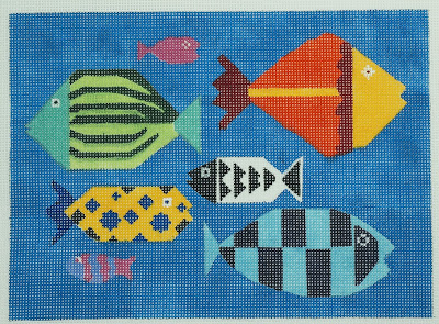 click here to view larger image of Bright Fish (hand painted canvases)