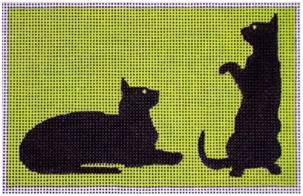 click here to view larger image of 2 Black Cats On Green (hand painted canvases)