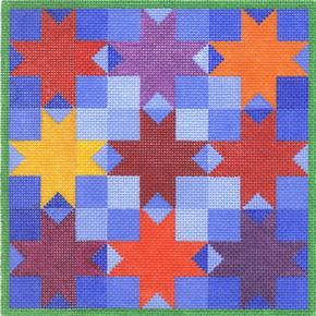 click here to view larger image of 8 Pointed Star Quilt (hand painted canvases)