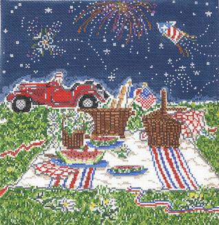 click here to view larger image of Summer Picnic (hand painted canvases)