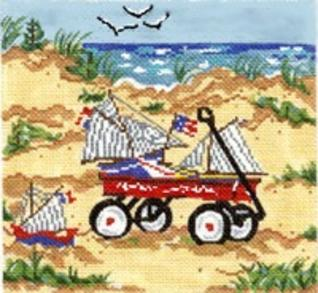 click here to view larger image of Wagon with Boats (hand painted canvases)