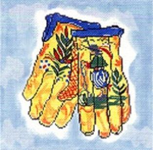 click here to view larger image of Quimper Gloves (hand painted canvases)