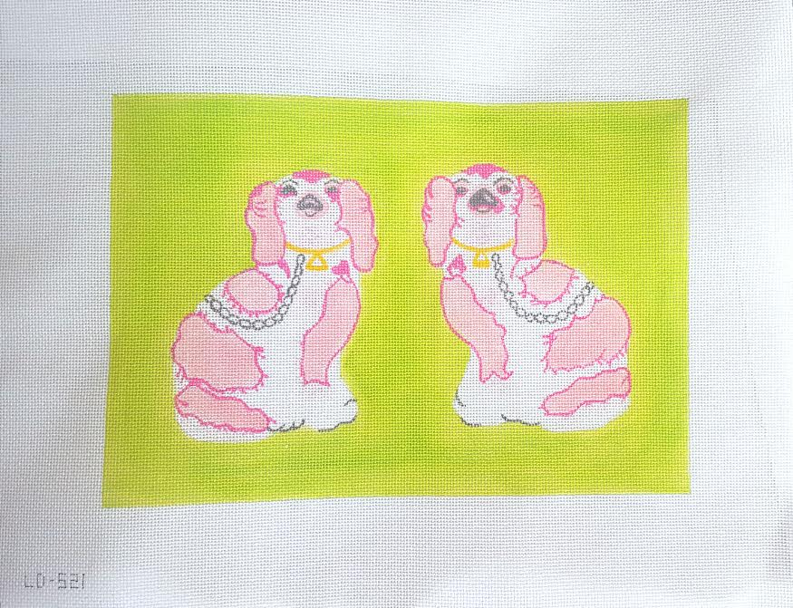 click here to view larger image of Staffordshire Dogs - Pink On Green (hand painted canvases)