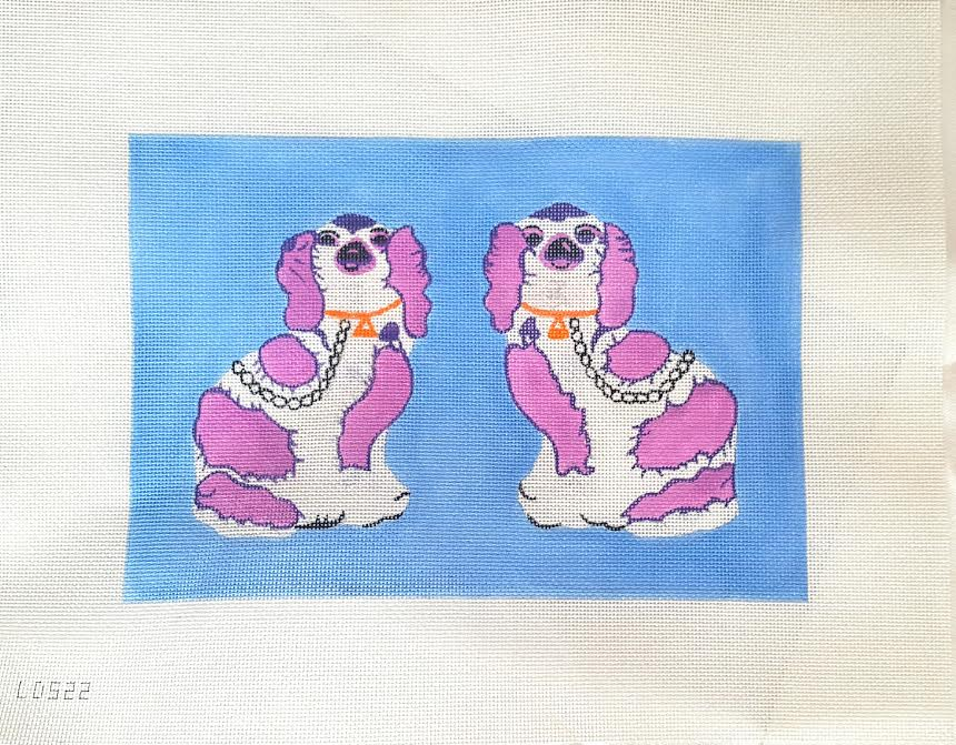 click here to view larger image of Staffordshire Dogs - Purple On Blue (hand painted canvases)