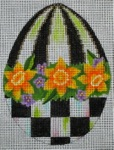 click here to view larger image of Black and White Egg - Jonquil (hand painted canvases)