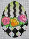 click here to view larger image of Black and White Egg - Roses (hand painted canvases)