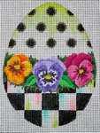 click here to view larger image of Black and White Egg - Pansies (hand painted canvases)