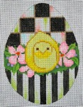 click here to view larger image of Black and White Egg - Yellow Peep Chick (hand painted canvases)