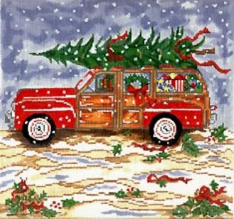 click here to view larger image of Christmas Woody - 13ct (hand painted canvases)