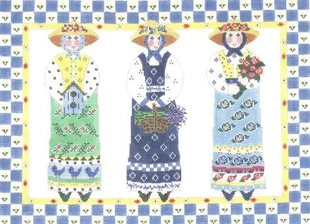 click here to view larger image of Trio Garden Ladies (hand painted canvases)