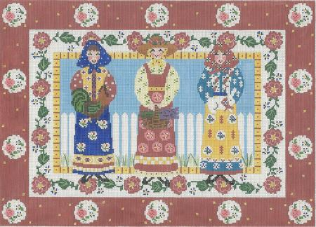 click here to view larger image of Trio Ladies - Flower Border (hand painted canvases)