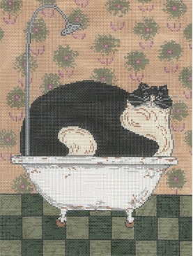 click here to view larger image of Cat In A Hot Tin Tub (hand painted canvases)