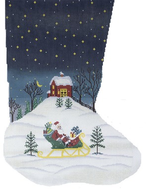 click here to view larger image of Sleigh Sock (hand painted canvases)