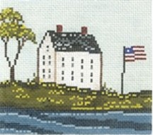 click here to view larger image of House With Flag (hand painted canvases)