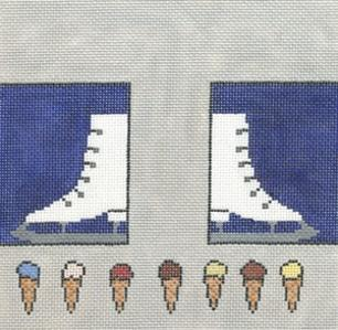 click here to view larger image of Ice Skates/Ice Cream (hand painted canvases)
