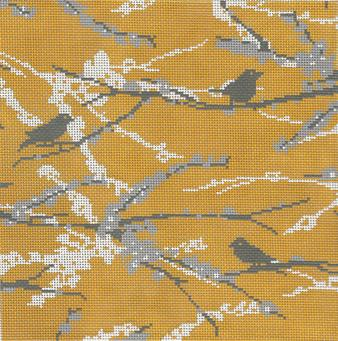 click here to view larger image of Sparrows - Vintage Yellow (hand painted canvases)