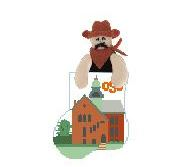 click here to view larger image of Oklahoma State With Cowboy Mini Sock (hand painted canvases)