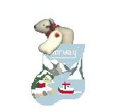 click here to view larger image of Norway Fjords With Polar Bear Mini Sock (hand painted canvases)