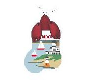 click here to view larger image of Newport RI With Lobster Mini Sock (hand painted canvases)