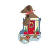 click here to view larger image of Front Door Dachshund with Dachshund Mini Sock (hand painted canvases)