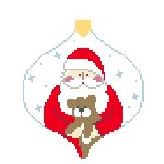 click here to view larger image of Santa With Teddy Bauble (hand painted canvases)