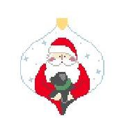 click here to view larger image of Santa With Puppy Bauble (hand painted canvases)