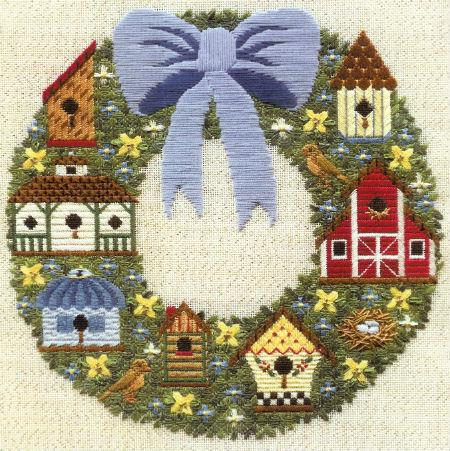 Birdhouse Wreath counted canvas work