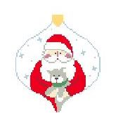 click here to view larger image of Santa With Kitty Bauble (hand painted canvases)