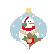 click here to view larger image of Snowman With Moose Bauble (hand painted canvases)