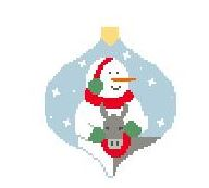 click here to view larger image of Snowman With Donkey Bauble (hand painted canvases)