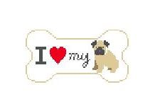 click here to view larger image of I Love My Pug (hand painted canvases)