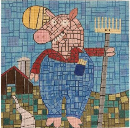 click here to view larger image of Farmer Pig (hand painted canvases)