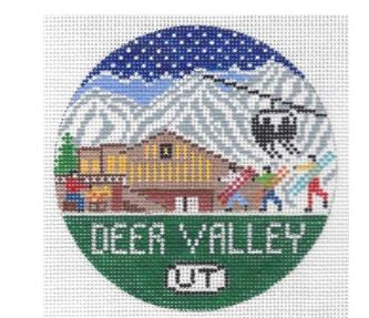 click here to view larger image of Deer Valley Round (hand painted canvases)