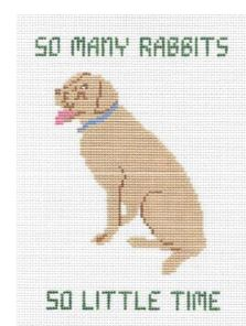 click here to view larger image of So Many Rabbits Pillow - Yellow Lab (hand painted canvases)