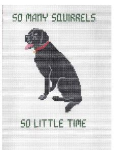 click here to view larger image of So Many Squirrels Pillow - Black Lab (hand painted canvases)