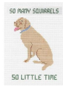 click here to view larger image of So Many Squirrels Pillow - Yellow Lab (hand painted canvases)