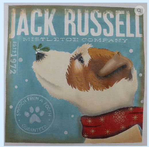 click here to view larger image of Jack Russell Mistletoe Company (hand painted canvases)