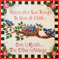 click here to view larger image of Roots and Wings Birth Sampler (hand painted canvases)