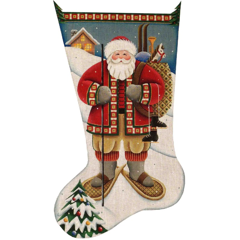 click here to view larger image of Alpine Santa Stocking - 18ct (hand painted canvases)